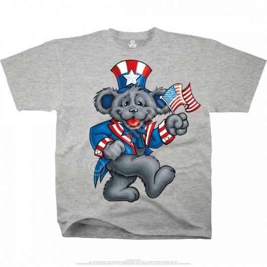 GRATEFUL DEAD-Uncle Sam BEAR-WAVE THE FLAG-USA-HTHR TSHIRT L, 6X VERY LTD