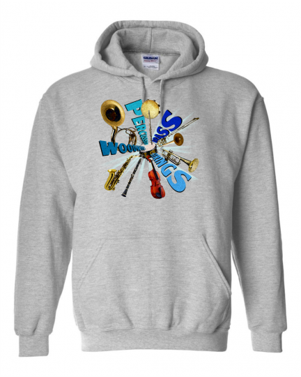 Gildan Hoodie Pullover Sweatshirt Music Marching Band Percussion Instruments