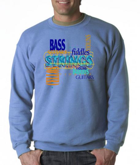 Gildan Long Sleeve T-shirt Music Band Bass Strings Instruments