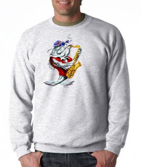 Gildan Long Sleeve T-shirt Music Music Jazz Blues Catfish Playing Instrument