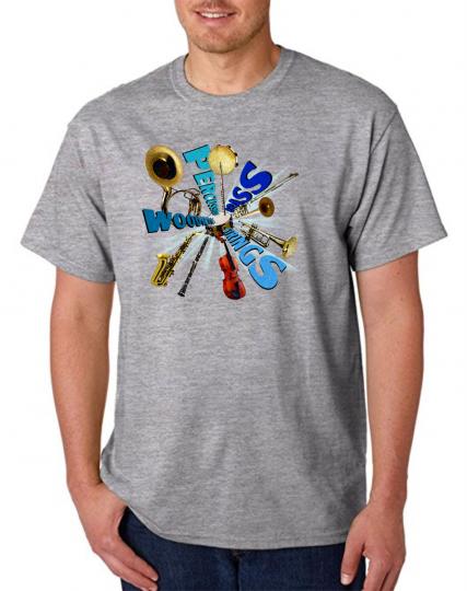 Gildan Short Sleeve T-shirt Music Marching Band Percussion Instruments