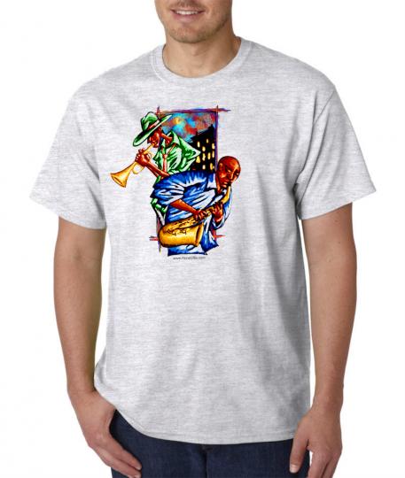 Gildan Short Sleeve T-shirt Night Music Jazz Blues Men Playing Instrument