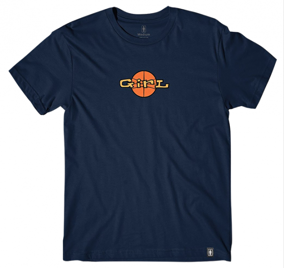 Girl Skateboards x Andy Jenkins Basketball B-Ball Logo Navy Blue T-Shirt
