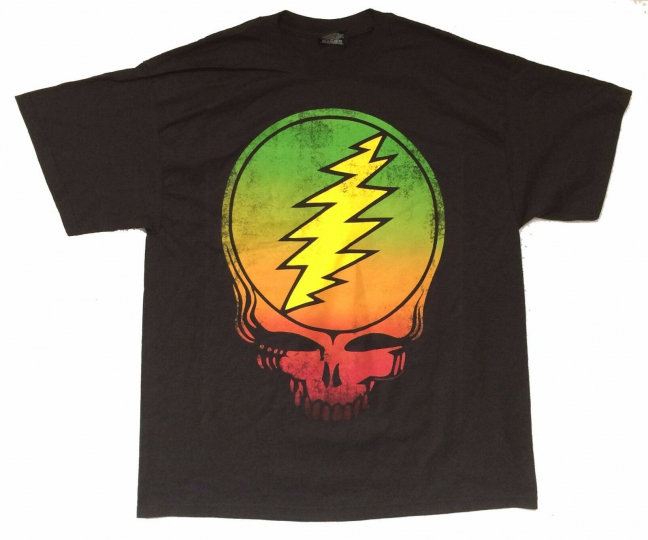 Grateful Dead Big Skull Classic Rasta Colors Black T Shirt New Official Zion