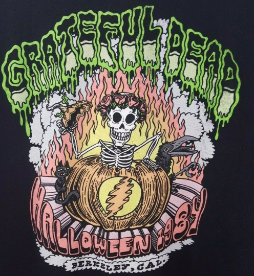 Grateful Dead Halloween 1984 Berkley Cal Tour Skeleton Shirt reprint Men 3XL USA
