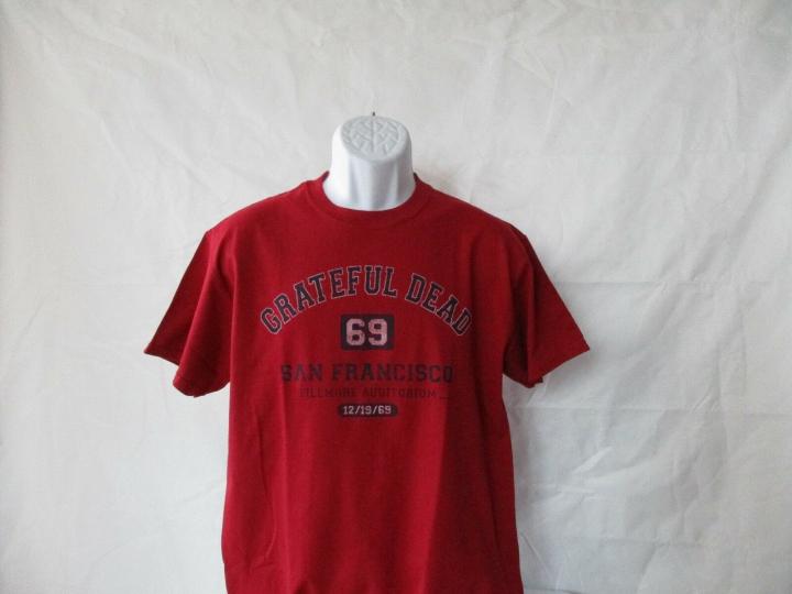 Grateful Dead San Francisco Fillmore 1969 Red T-Shirt - Adult Sizes M - XL  NEW!