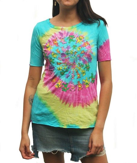 Grateful Dead Spiral Bears Tie Dye T shirt By Chaser 60's 70's Psychedelic Rock
