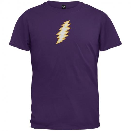 Grateful Dead - Stitched Bolt Purple Youth T-Shirt