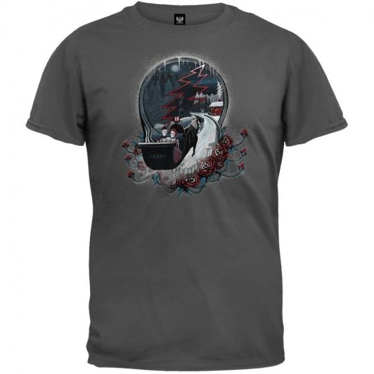 Grateful Dead - Winter Sleigh Charcoal Adult Mens T-Shirt
