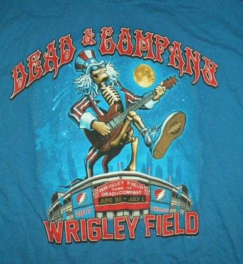 Grateful Dead & Company Adult Large Blue Concert Tee T Shirt Wrigley Field 2017