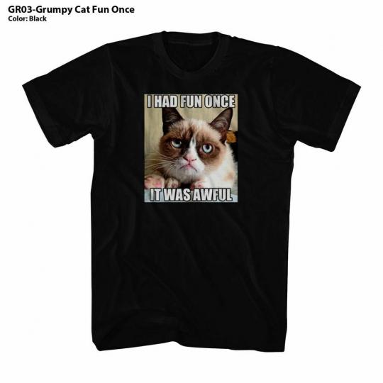 Grumpy Cat Fun Once Black Adult T-Shirt