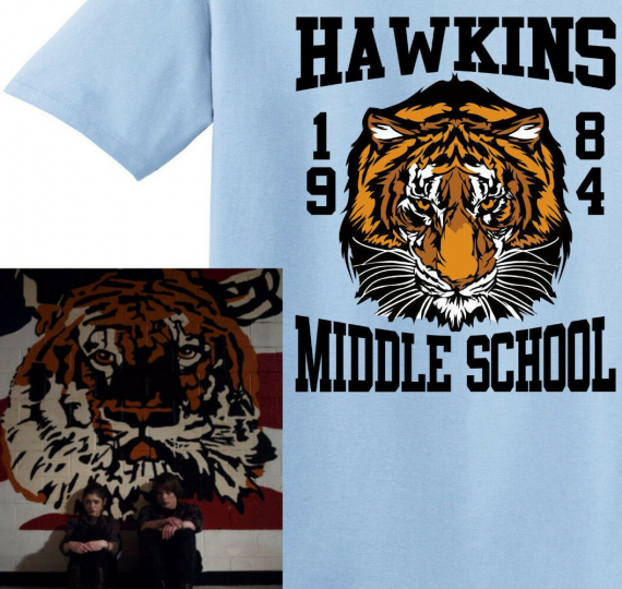 HAWKINS MIDDLE SCHOOL TIGERS 1984 T-Shirt from Stranger Things TV show
