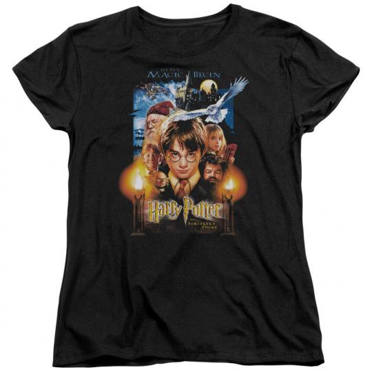 Harry Potter & Sorcerer's Stone Movie Poster Licensed Women's T-Shirt All Sizes