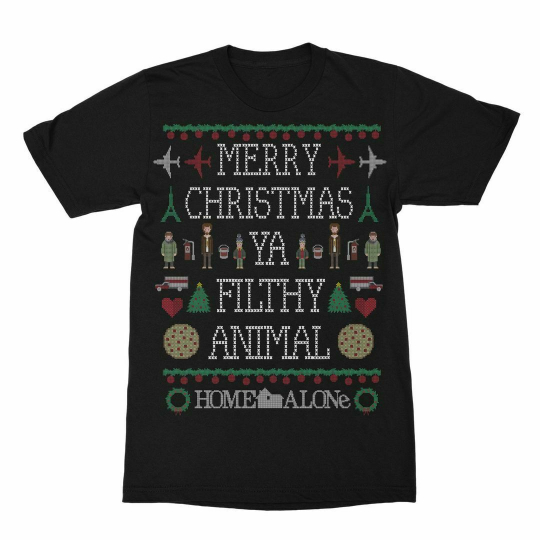 Home Alone Filthy Animal Sweater Black Adult T-Shirt