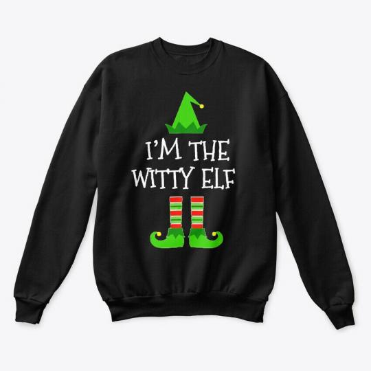 Im The Witty Elf Christmas T Gift Hanes Unisex Crewneck Sweatshirt