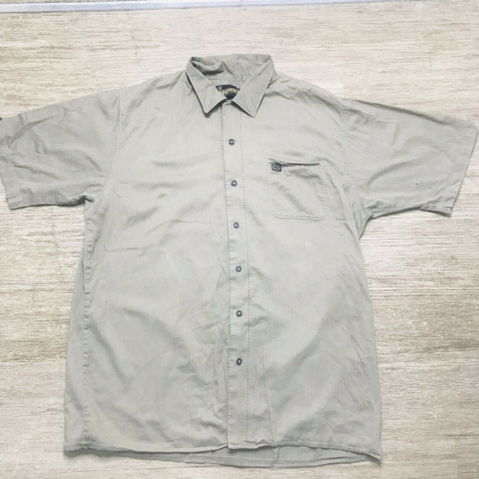 Independent Truck Co light olive short sleeve button down Shirt size Large EUC