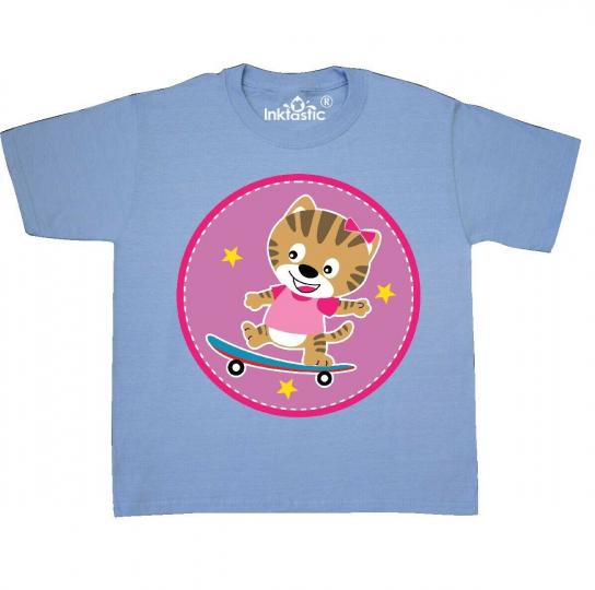 Inktastic Skateboarding Cat Girls Skateboarder Youth T-Shirt Skater Childs Skate
