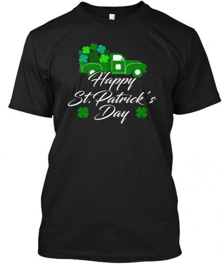 Irish Saint Patricks Shamrock Truck Hanes Tagless Tee T-Shirt