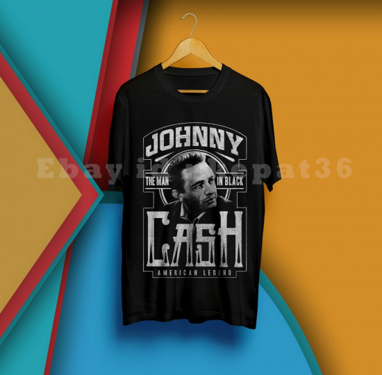 JOHNY CASH The Man In Black American Legend Black TShirt M  - 3XL