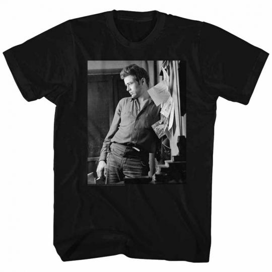 James Dean Cool Lean Black Adult T-Shirt