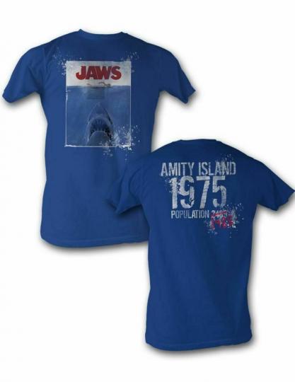 Jaws 1975 Royal Adult T-Shirt