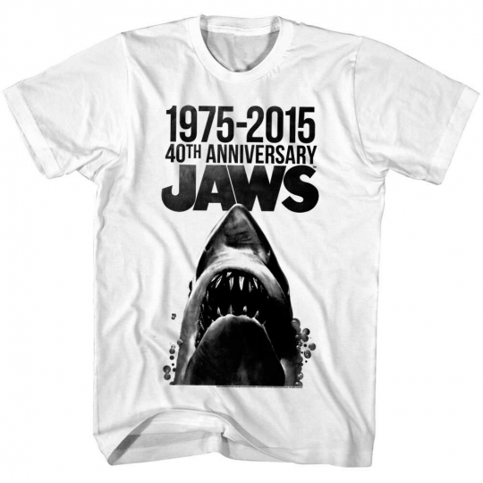 Jaws 40th Anniversary Shark Movie Poster Men's T Shirt Inkblot Spielberg Horror