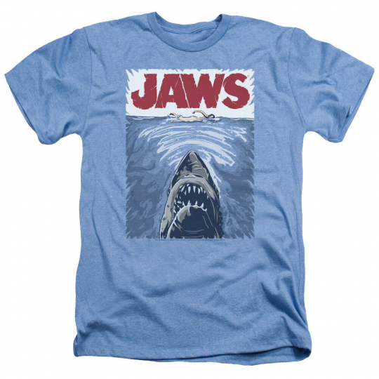 Jaws Movie GRAPHIC POSTER Licensed Adult Heather T-Shirt All Sizes