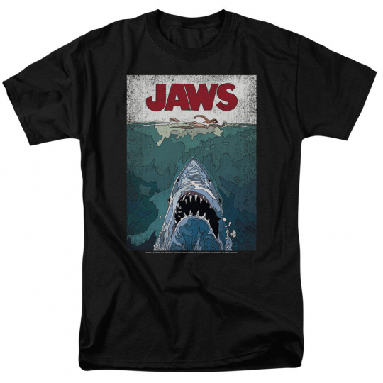 Jaws Movie LINED POSTER Licensed Adult T-Shirt All Sizes