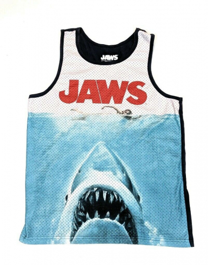Jaws Movie Poster Shark Men's Tank Top Blue White Shirt Size Medium 38/40