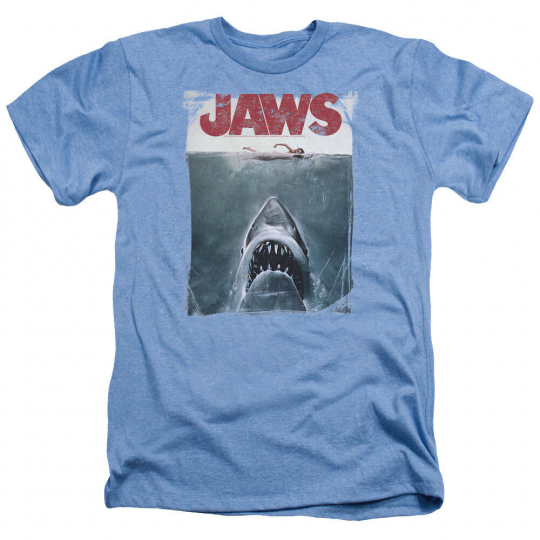 Jaws Movie Poster Vintage Style Licensed Adult Heather T-Shirt All Sizes