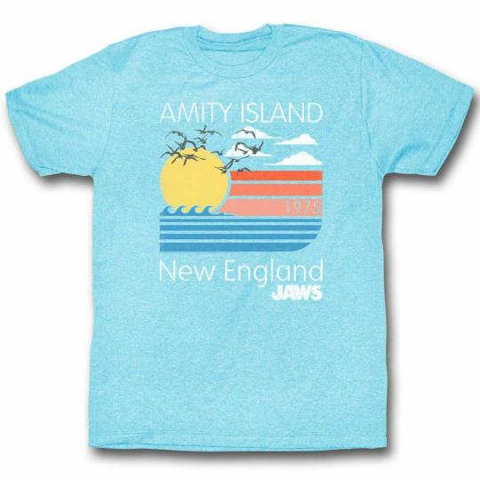 Jaws Pastels Light Blue Heather Adult T-Shirt