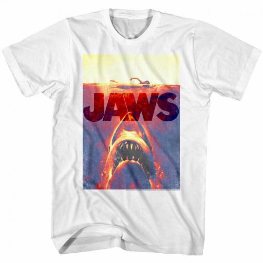 Jaws Photo Negative Shark Attack Movie Poster Men's T Shirt Ocean Swimmer