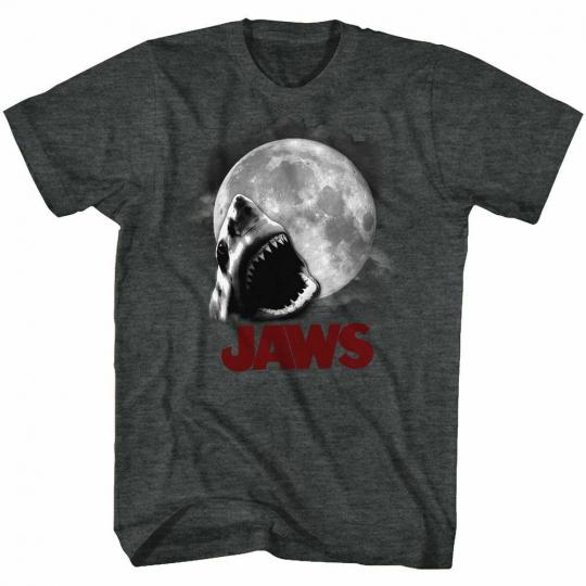 Jaws Shark Moon Black Heather Adult T-Shirt