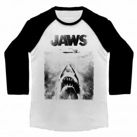 Jaws Shark Movie Poster Mens Raglan Shirt Vintage Long Sleeve Great White Attack