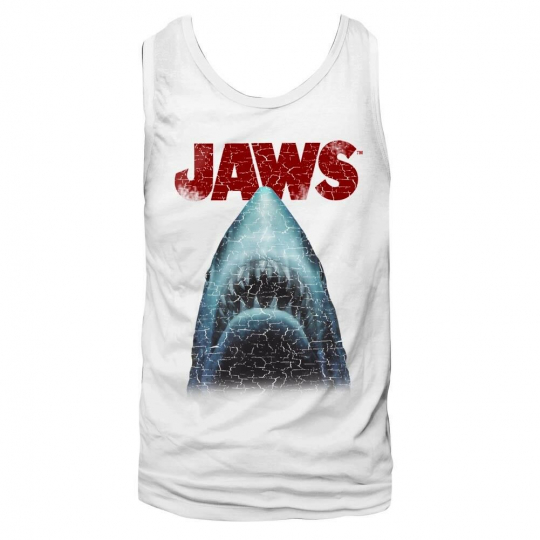 Jaws Vintage Shark Men's Tank Top Movie Poster Great White Attack Muscle Vest
