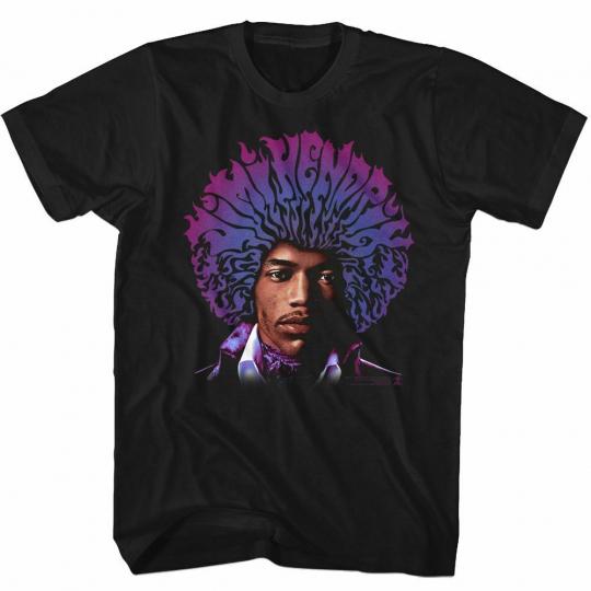 Jimi Hendrix Name Fro Black Adult T-Shirt
