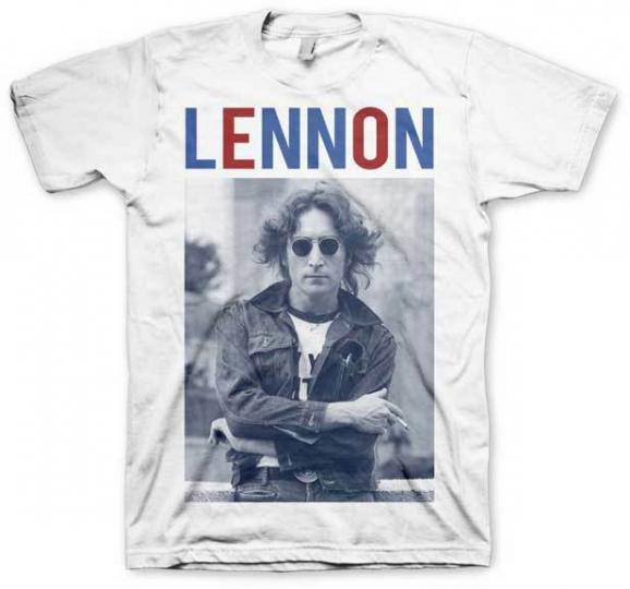 John Lennon -John Lennon Red White & Lennon Adult T-Shirt -Rock Band the Beatles