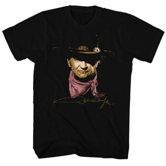 John Wayne Hollywood Icon Actor Painted Cowboy Adult T-Shirt Tee