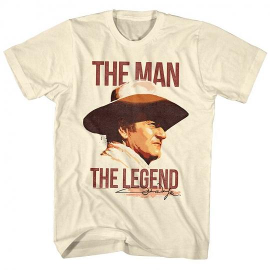 John Wayne The Man, The Legend Men's Vintage Cream Shirt