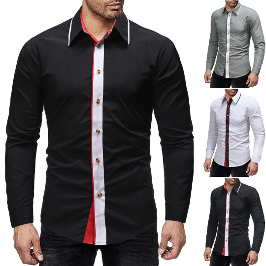Joining together Long sleeve fashion shirt leisure Men's Color matching