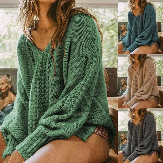 Jumper Blouse Hollow Batwing Loose Knitwear Pullover Tops Sleeves Sweater Women