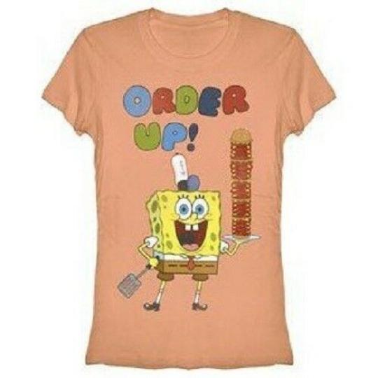 Juniors Animated TV Show Spongebob Square Pants Order Up Peach T-shirt Tee