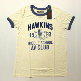 "Juniors Stranger Things ""Hawkins AV Club"" Graphic Tee T-Shirt – Ivory Blue"
