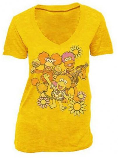 Juniors Yellow TV Show Fraggle Rock Flower Group Golden Amber V-Neck T-Shirt Tee