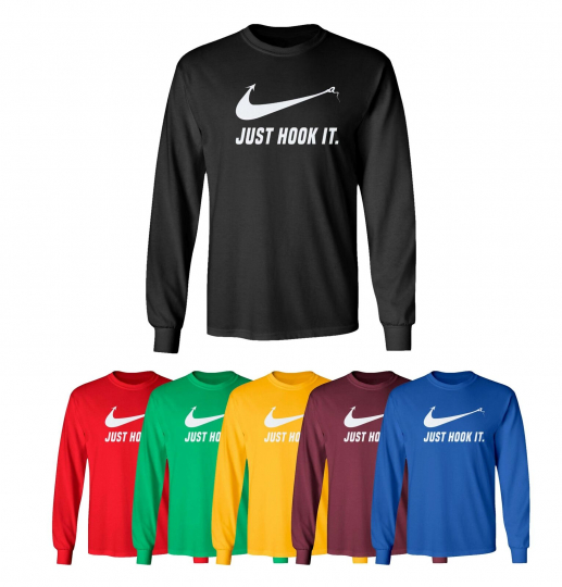 Just Hook It Funny Shirt Meme Swoosh Sports Slogan Men's Long Sleeve T-Shirt