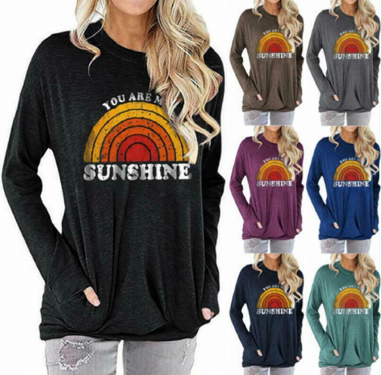 KN0588  Woman Casual Loose TOP YOU ARE MY SUNSHINE O-neck long sleeves S-2XL