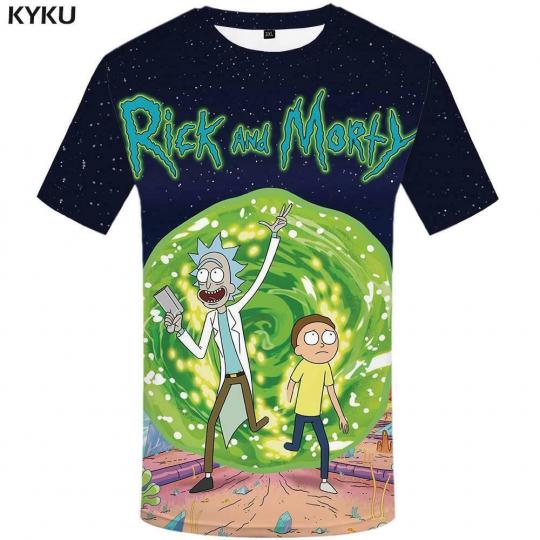 KYKU Brand Rick And Morty T Shirt Men Anime Tshirt Chinese 3d Printed T-shirt Hi