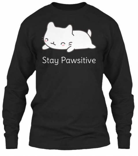 Kawaii Cat Pun - Stay Pawsitive Gildan Long Sleeve Tee T-Shirt