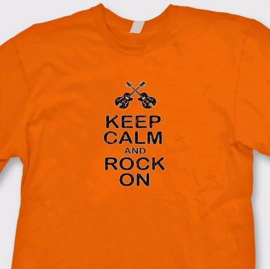 Keep Calm And Rock On Heavy Metal T-shirt Band DJ Party Music Tee Shirt