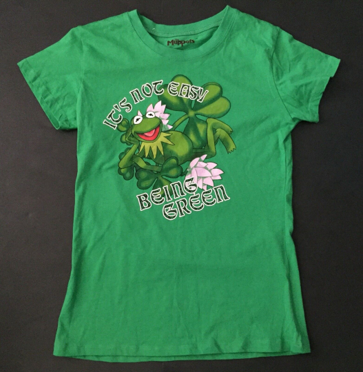 Kermit The Frog T-shirt Juniors M It's Not Easy Being Green Shamrocks Flowers